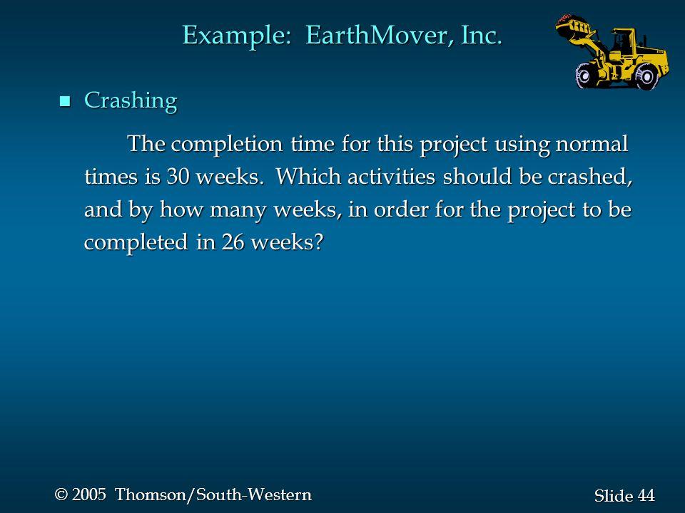 44 Slide © 2005 Thomson/South-Western Example: EarthMover, Inc.