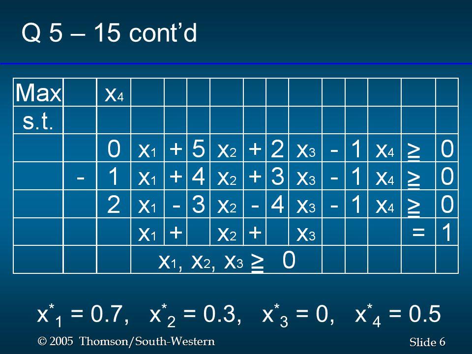 6 6 Slide © 2005 Thomson/South-Western Q 5 – 15 cont'd x * 1 = 0.7, x * 2 = 0.3, x * 3 = 0, x * 4 = 0.5