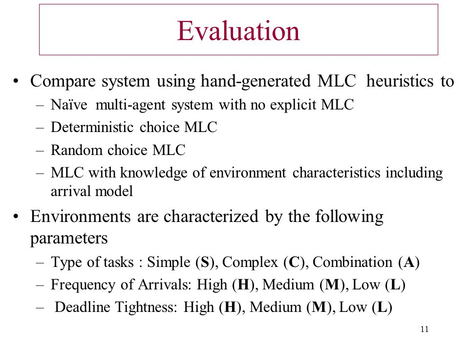 11 Evaluation Compare system using hand-generated MLC heuristics to –Naïve multi-agent system with no explicit MLC –Deterministic choice MLC –Random choice MLC –MLC with knowledge of environment characteristics including arrival model Environments are characterized by the following parameters –Type of tasks : Simple (S), Complex (C), Combination (A) –Frequency of Arrivals: High (H), Medium (M), Low (L) – Deadline Tightness: High (H), Medium (M), Low (L)