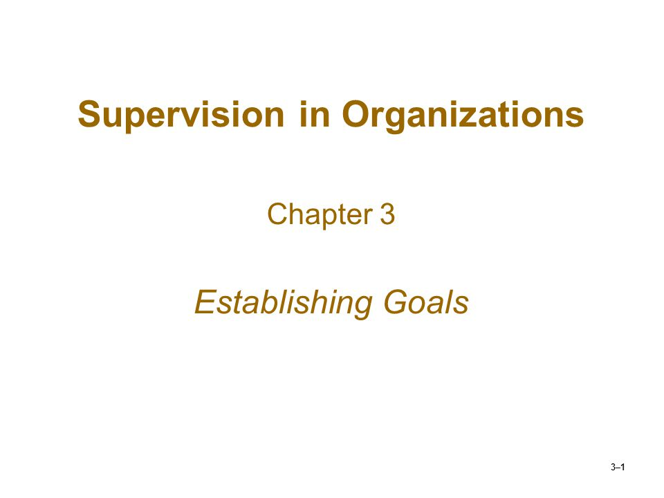 3–1 Supervision in Organizations Chapter 3 Establishing Goals