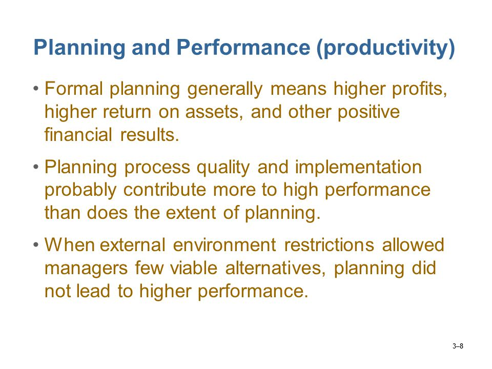 3–19 Key Planning Guides cont… Standing plan  Policies  broad guidelines for Supervisory action – We promote from within whenever possible  Procedures  series of steps a supervisor would utilize in responding to a recurring problem with employees  Rules  an explicit statement that tells employees what he/she ought or out not to do  created when supervisors are confronted with recurring problems  simple to follow & ensures consistency