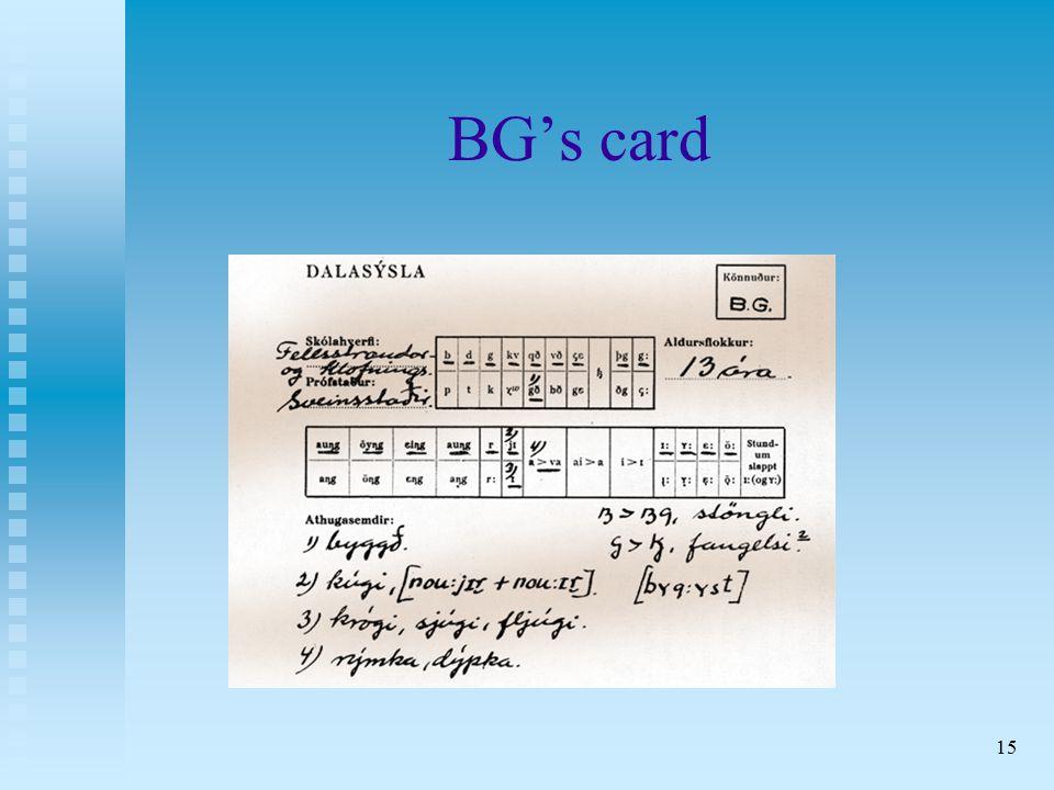 15 BG's card