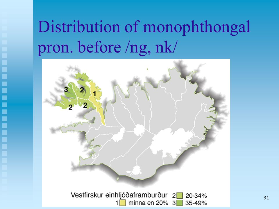 31 Distribution of monophthongal pron. before /ng, nk/