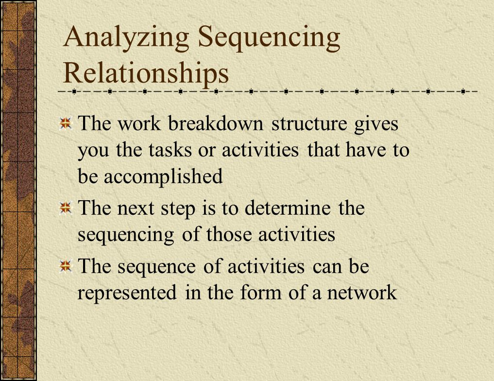 Analyzing Sequencing Relationships The work breakdown structure gives you the tasks or activities that have to be accomplished The next step is to determine the sequencing of those activities The sequence of activities can be represented in the form of a network