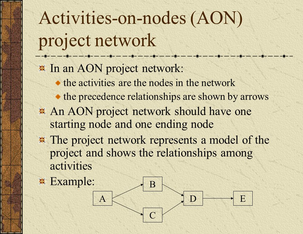 Activities-on-nodes (AON) project network In an AON project network: the activities are the nodes in the network the precedence relationships are shown by arrows An AON project network should have one starting node and one ending node The project network represents a model of the project and shows the relationships among activities Example: EAD C B