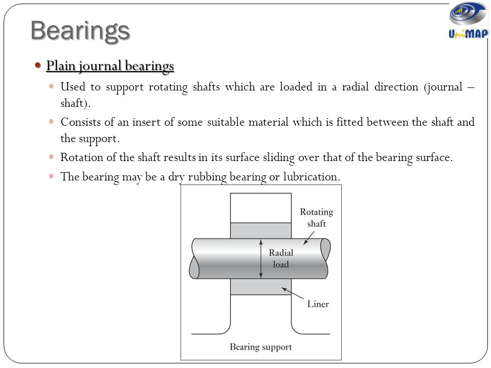 Bearings Plain journal bearings Plain journal bearings Used to support rotating shafts which are loaded in a radial direction (journal – shaft). Consi