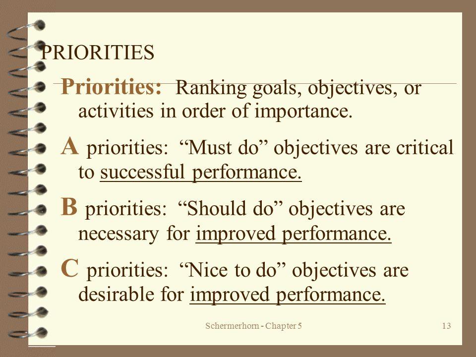 "Schermerhorn - Chapter 513 PRIORITIES Priorities: Ranking goals, objectives, or activities in order of importance. A priorities: ""Must do"" objectives"