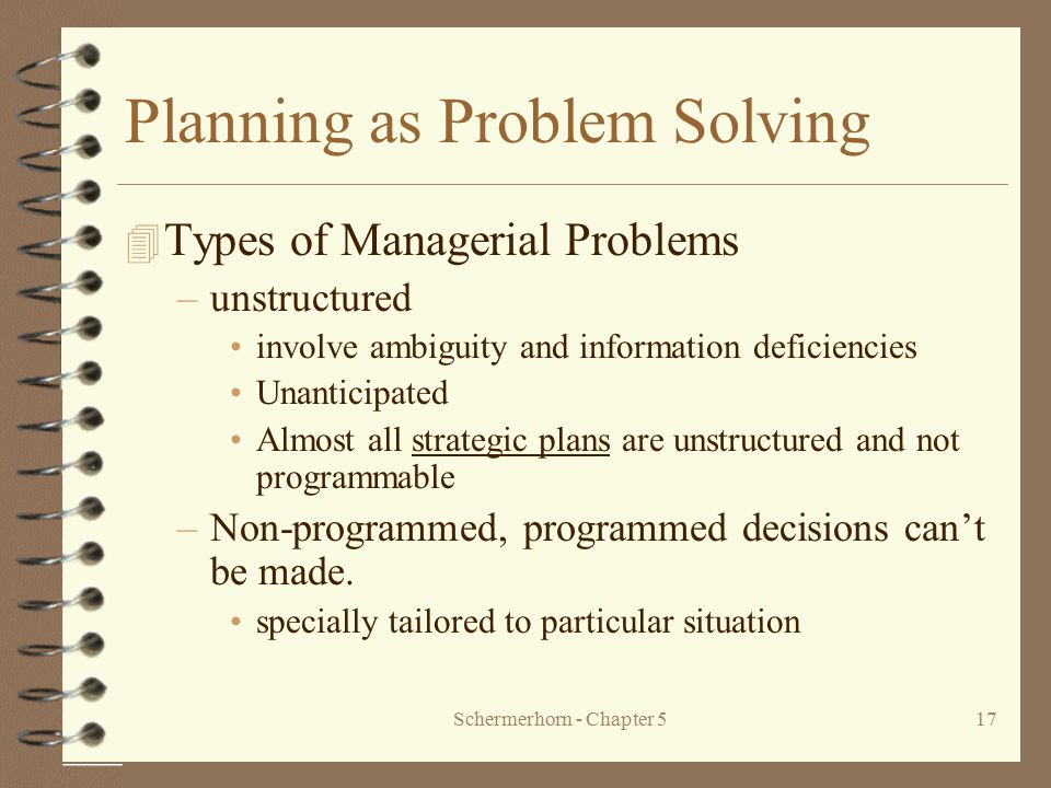 Schermerhorn - Chapter 517 Planning as Problem Solving 4 Types of Managerial Problems –unstructured involve ambiguity and information deficiencies Una