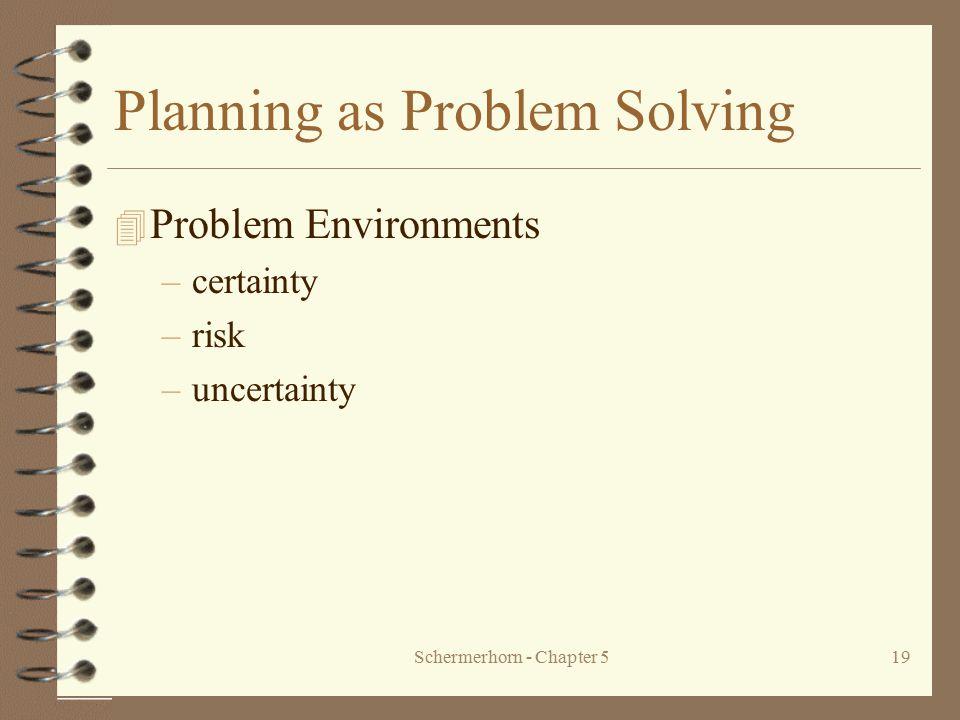 Schermerhorn - Chapter 519 Planning as Problem Solving 4 Problem Environments –certainty –risk –uncertainty