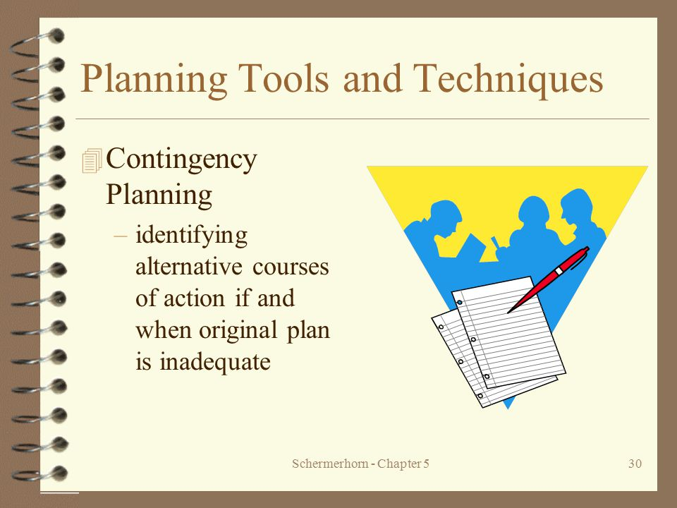 Schermerhorn - Chapter 530 Planning Tools and Techniques 4 Contingency Planning –identifying alternative courses of action if and when original plan i