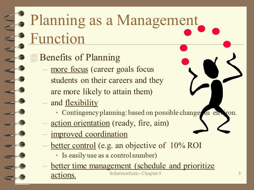 Schermerhorn - Chapter 55 Planning as a Management Function 4 Benefits of Planning –more focus (career goals focus students on their careers and they