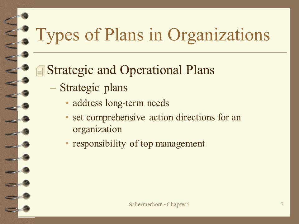 Schermerhorn - Chapter 57 Types of Plans in Organizations 4 Strategic and Operational Plans –Strategic plans address long-term needs set comprehensive