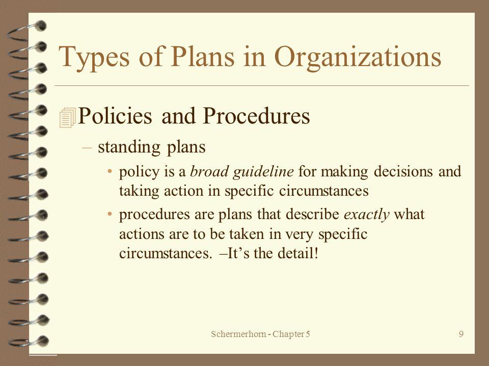 Schermerhorn - Chapter 59 Types of Plans in Organizations 4 Policies and Procedures –standing plans policy is a broad guideline for making decisions a