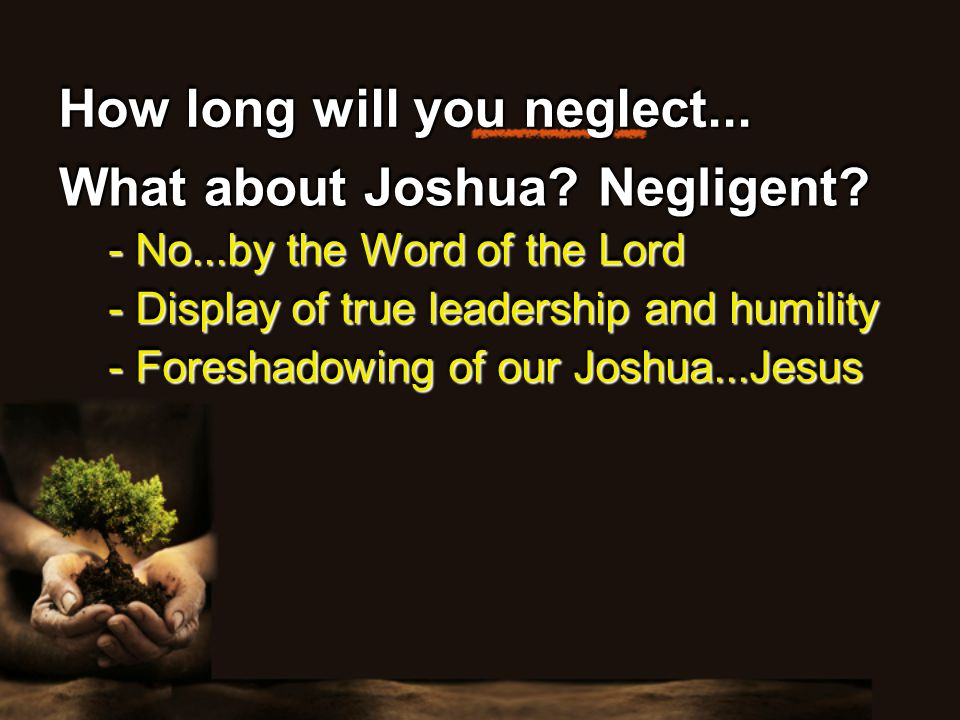 How long will you neglect... What about Joshua. Negligent.