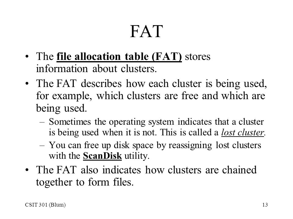 CSIT 301 (Blum)13 FAT The file allocation table (FAT) stores information about clusters. The FAT describes how each cluster is being used, for example