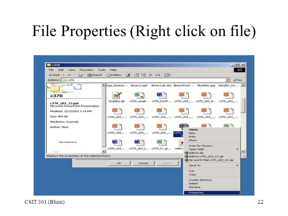 CSIT 301 (Blum)22 File Properties (Right click on file)