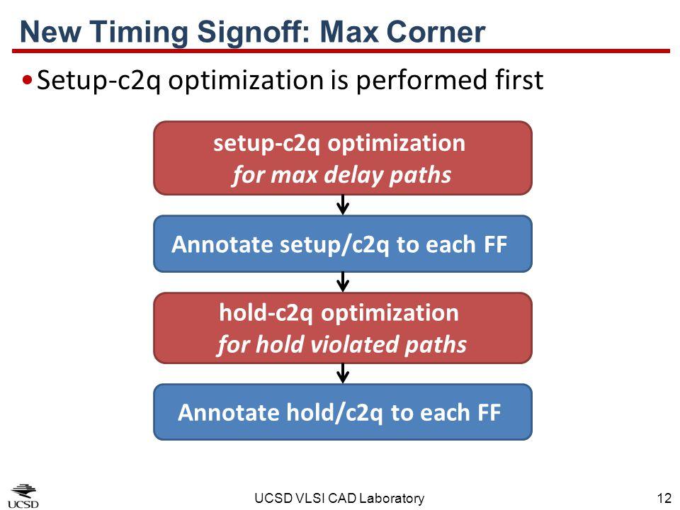 UCSD VLSI CAD Laboratory12 New Timing Signoff: Max Corner Setup-c2q optimization is performed first setup-c2q optimization for max delay paths hold-c2