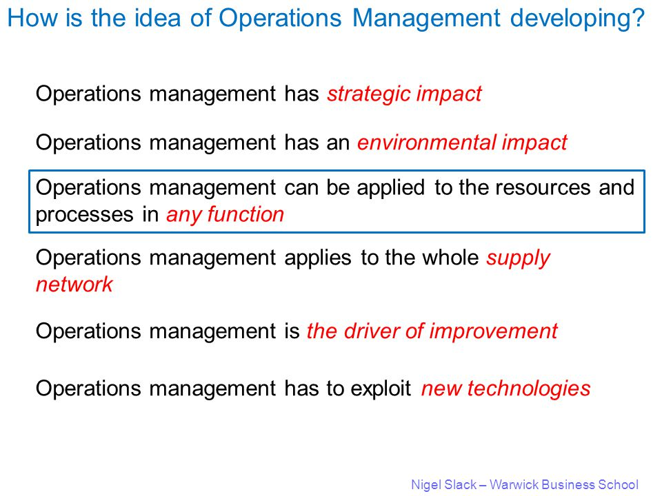 Nigel Slack – Warwick Business School How is the idea of Operations Management developing.