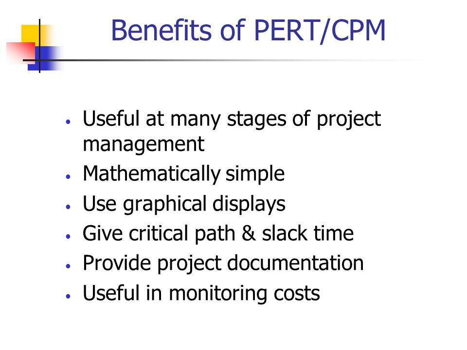 Benefits of PERT/CPM Useful at many stages of project management Mathematically simple Use graphical displays Give critical path & slack time Provide project documentation Useful in monitoring costs