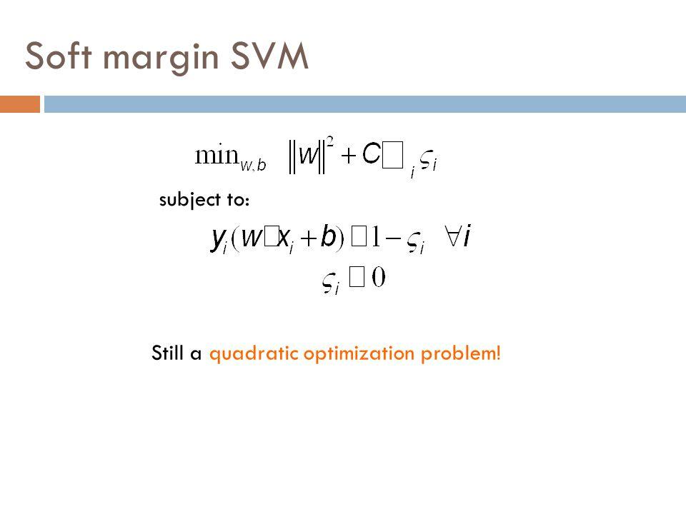 Soft margin SVM Still a quadratic optimization problem! subject to: