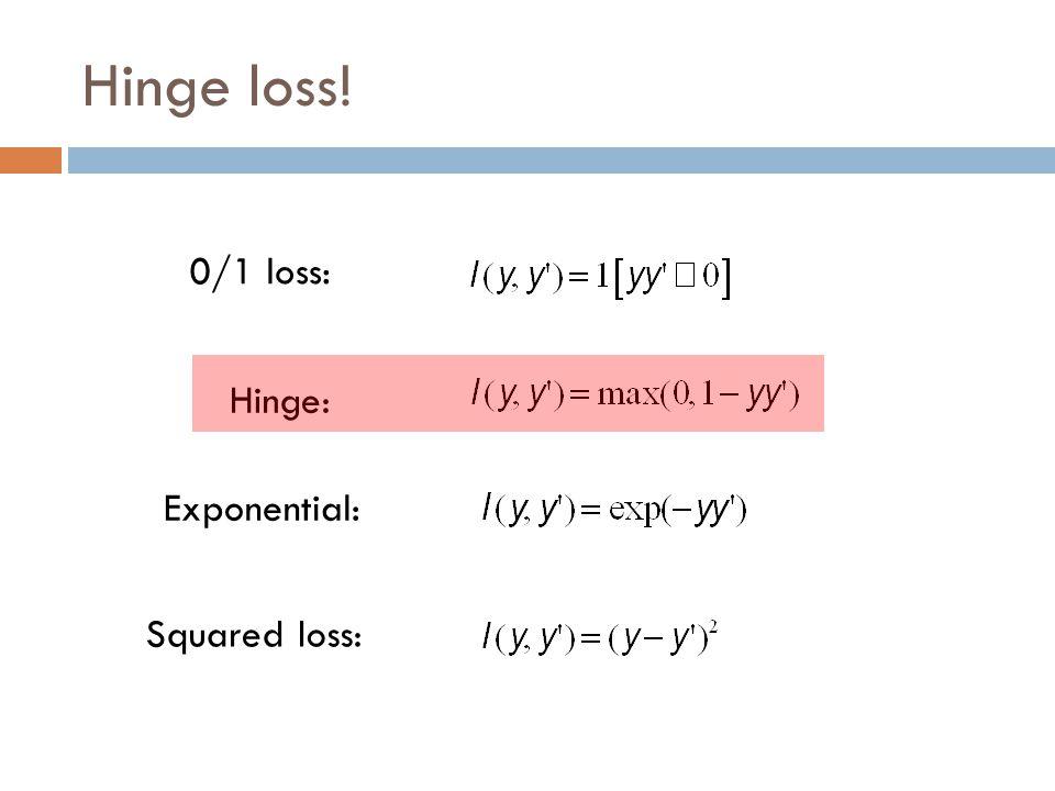 Hinge loss! 0/1 loss: Hinge: Exponential: Squared loss: