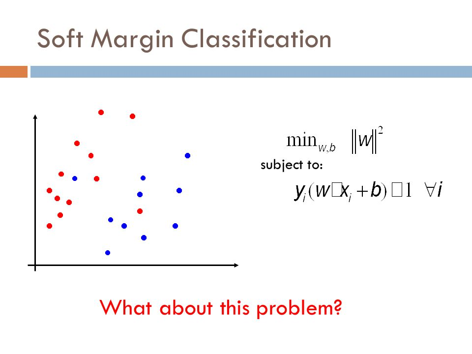 Soft Margin Classification subject to: We'd like to learn something like this, but our constraints won't allow it 