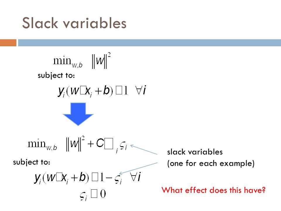 Slack variables subject to: slack penalties