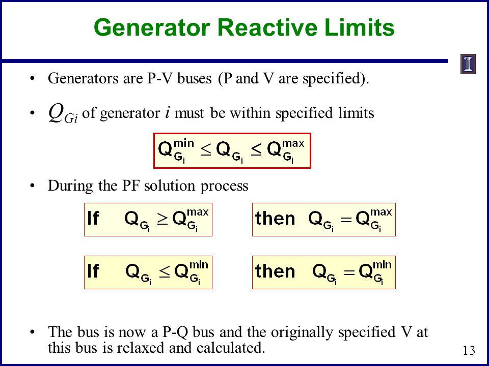 Generator Reactive Limits Generators are P-V buses (P and V are specified).