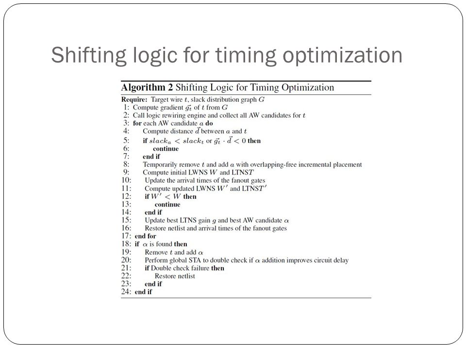 Shifting logic for timing optimization