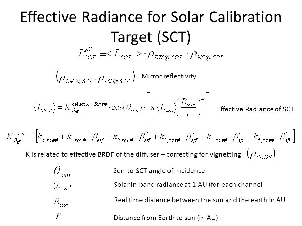 Effective Radiance for Solar Calibration Target (SCT) Distance from Earth to sun (in AU) Sun-to-SCT angle of incidence Mirror reflectivity Solar in-ba