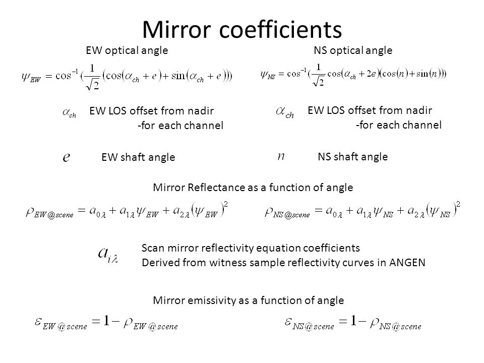 Mirror coefficients EW LOS offset from nadir -for each channel Scan mirror reflectivity equation coefficients Derived from witness sample reflectivity