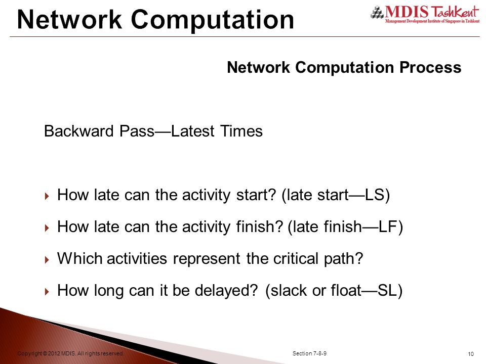 10 Network Computation Copyright © 2012 MDIS. All rights reserved.