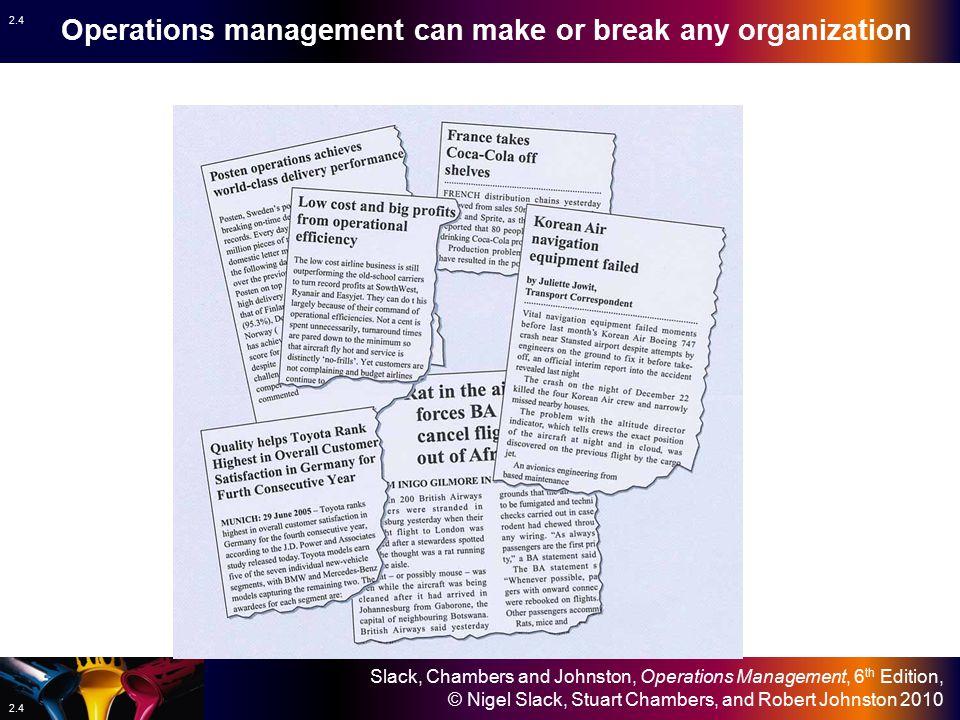 Slack, Chambers and Johnston, Operations Management, 6 th Edition, © Nigel Slack, Stuart Chambers, and Robert Johnston 2010 2.4 Operations management can make or break any organization