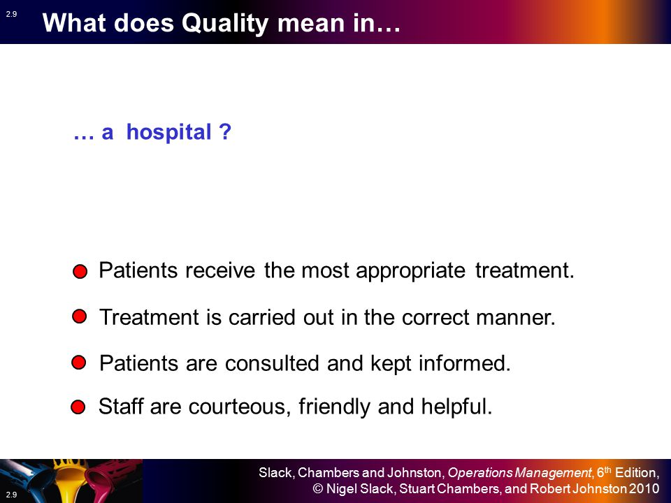 Slack, Chambers and Johnston, Operations Management, 6 th Edition, © Nigel Slack, Stuart Chambers, and Robert Johnston 2010 2.9 What does Quality mean in… Patients receive the most appropriate treatment.
