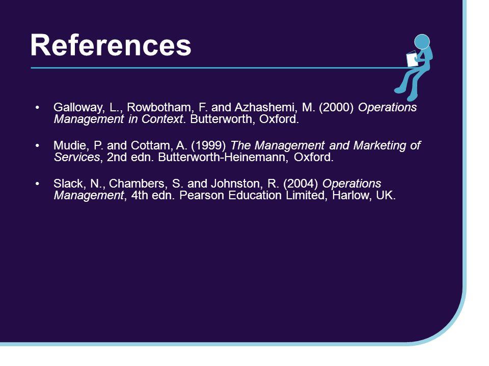 References Galloway, L., Rowbotham, F. and Azhashemi, M.