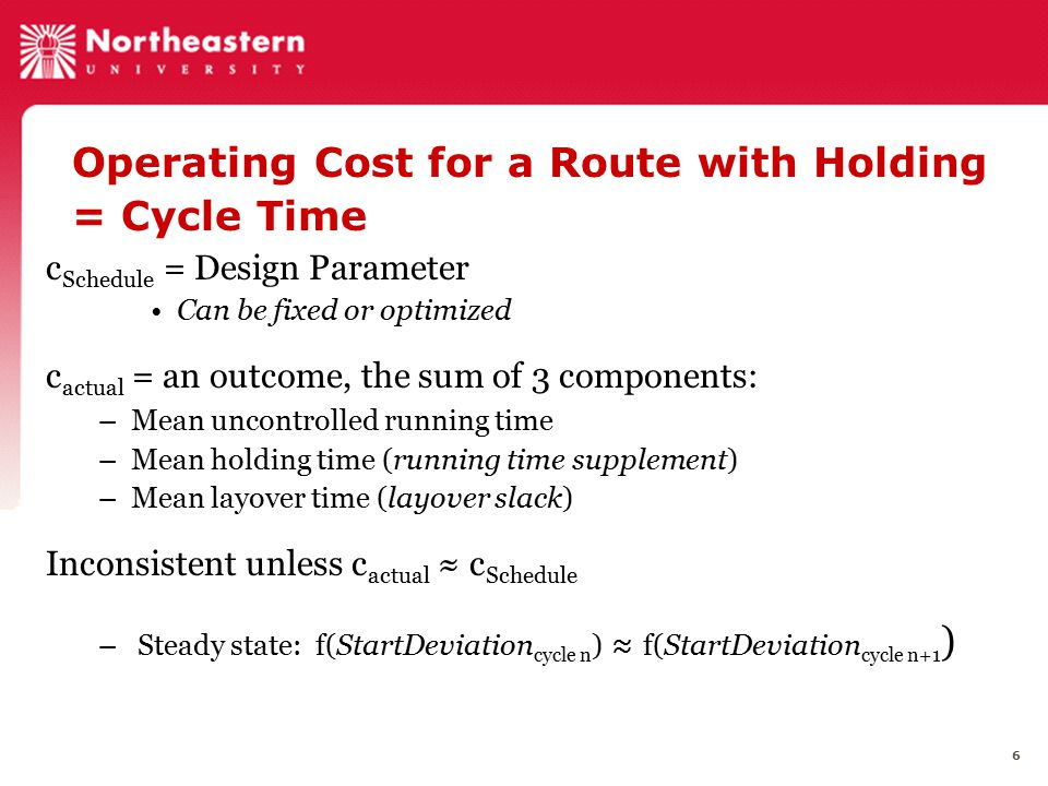 6 Operating Cost for a Route with Holding = Cycle Time c Schedule = Design Parameter Can be fixed or optimized c actual = an outcome, the sum of 3 com