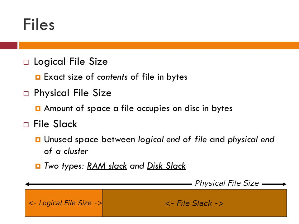 Files  Logical File Size  Exact size of contents of file in bytes  Physical File Size  Amount of space a file occupies on disc in bytes  File Sla