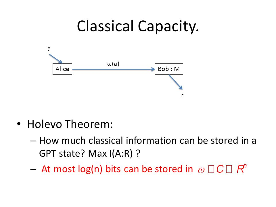 Classical Capacity. Holevo Theorem: – How much classical information can be stored in a GPT state? Max I(A:R) ? – At most log(n) bits can be stored in