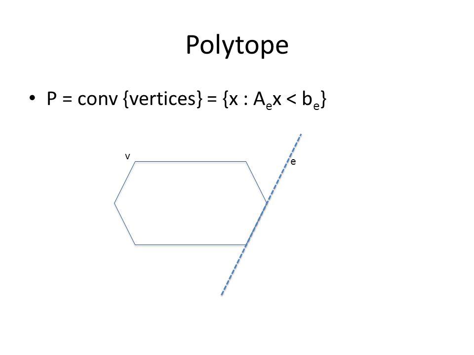 Polytope P = conv {vertices} = {x : A e x < b e } v e