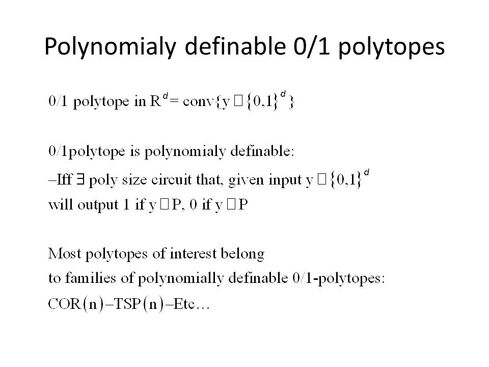 Polynomialy definable 0/1 polytopes
