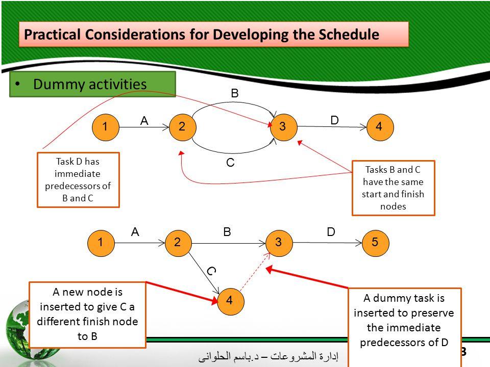 إدارة المشروعات – د. باسم الحلوانى 13 Practical Considerations for Developing the Schedule Dummy activities 1234 A D C Tasks B and C have the same sta