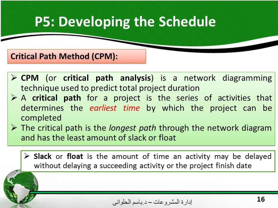 إدارة المشروعات – د. باسم الحلوانى 16 P5: Developing the Schedule Critical Path Method (CPM):  CPM (or critical path analysis) is a network diagrammi