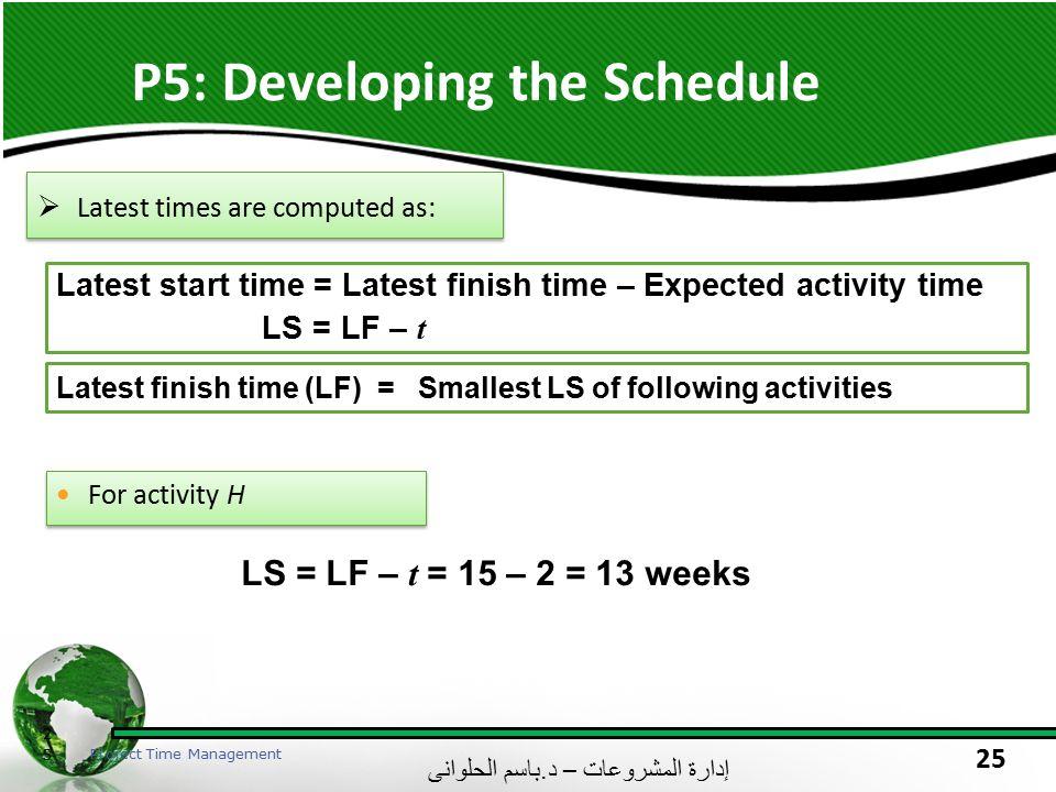 إدارة المشروعات – د. باسم الحلوانى 25 P5: Developing the Schedule 25 Project Time Management  Latest times are computed as: Latest start time = Lates