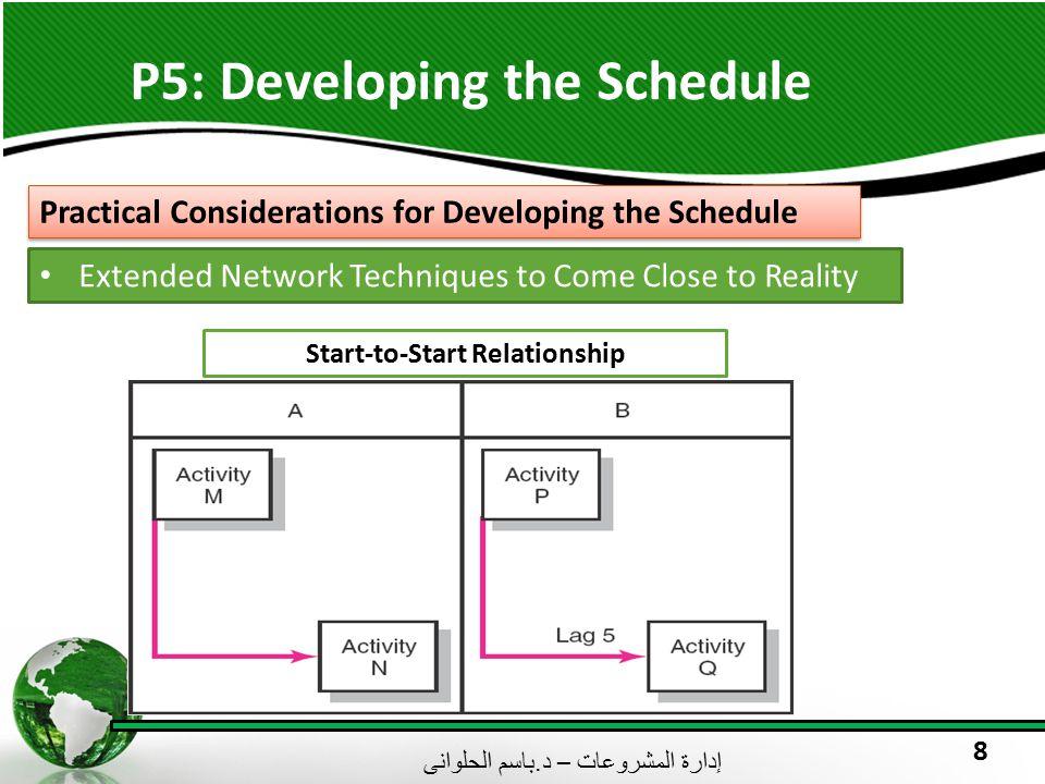 إدارة المشروعات – د. باسم الحلوانى 8 P5: Developing the Schedule Practical Considerations for Developing the Schedule Extended Network Techniques to C