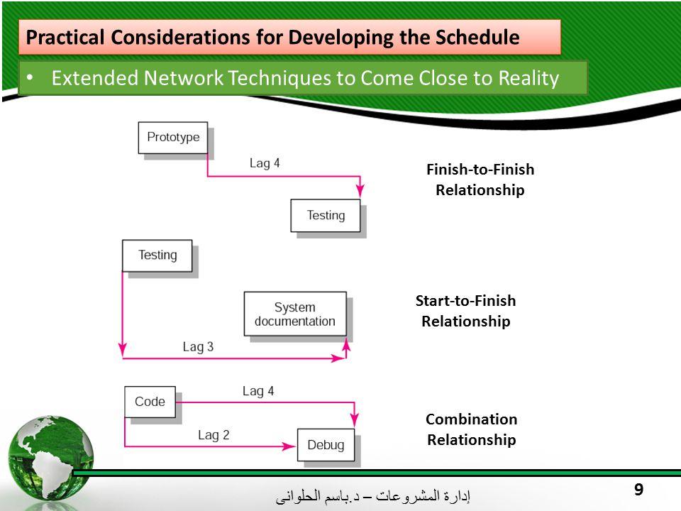 إدارة المشروعات – د. باسم الحلوانى 9 Practical Considerations for Developing the Schedule Extended Network Techniques to Come Close to Reality Finish-
