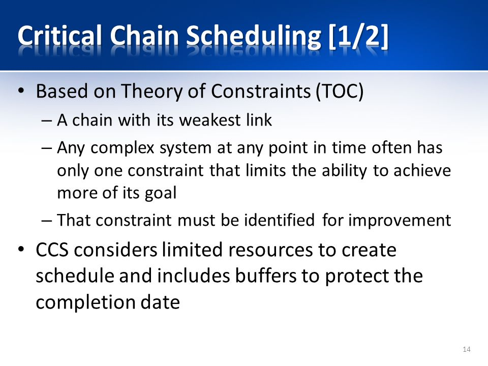 Based on Theory of Constraints (TOC) – A chain with its weakest link – Any complex system at any point in time often has only one constraint that limits the ability to achieve more of its goal – That constraint must be identified for improvement CCS considers limited resources to create schedule and includes buffers to protect the completion date 14