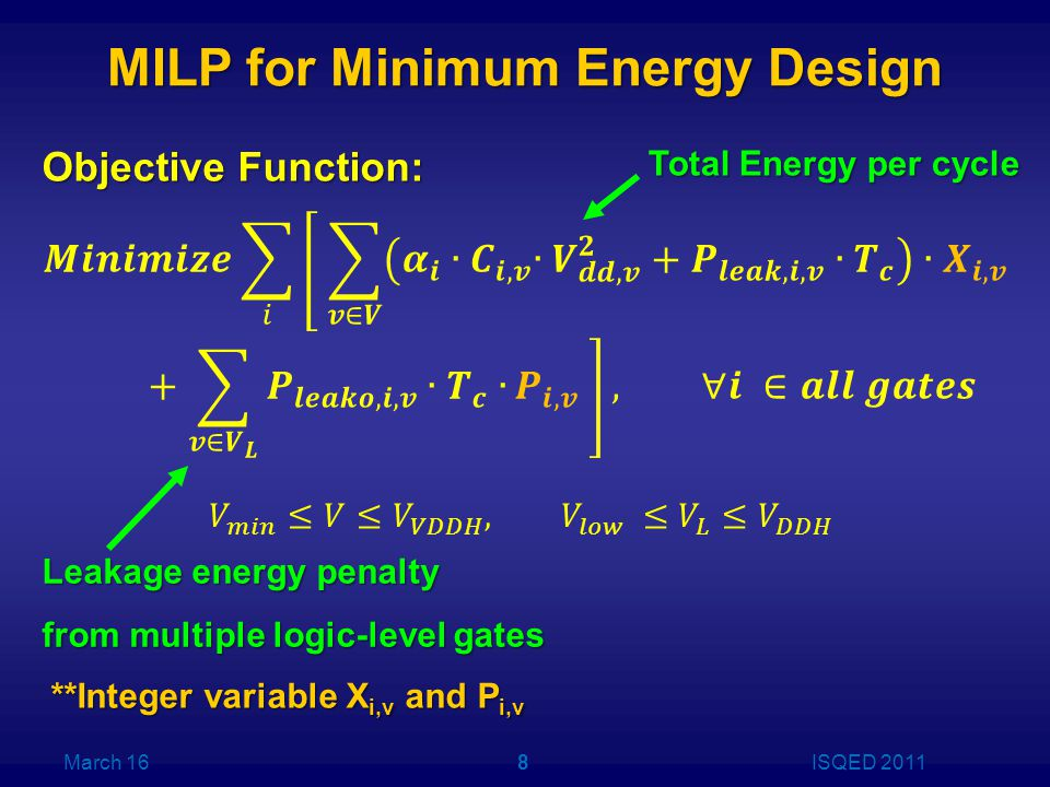 MILP for Minimum Energy Design Objective Function: **Integer variable X i,v and P i,v March 16ISQED 20118 Total Energy per cycle Leakage energy penalty from multiple logic-level gates