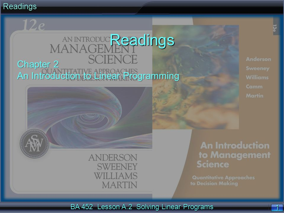 BA 452 Lesson A.2 Solving Linear Programs 1 1ReadingsReadings Chapter 2 An Introduction to Linear Programming