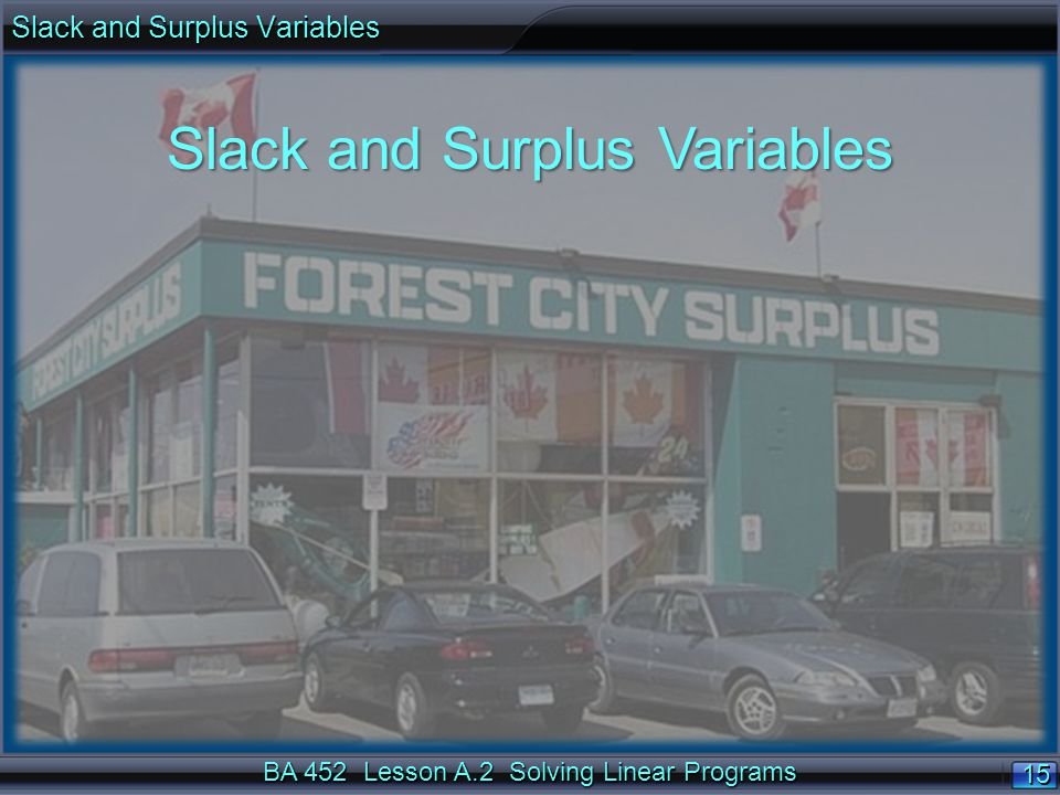 BA 452 Lesson A.2 Solving Linear Programs 15 Slack and Surplus Variables