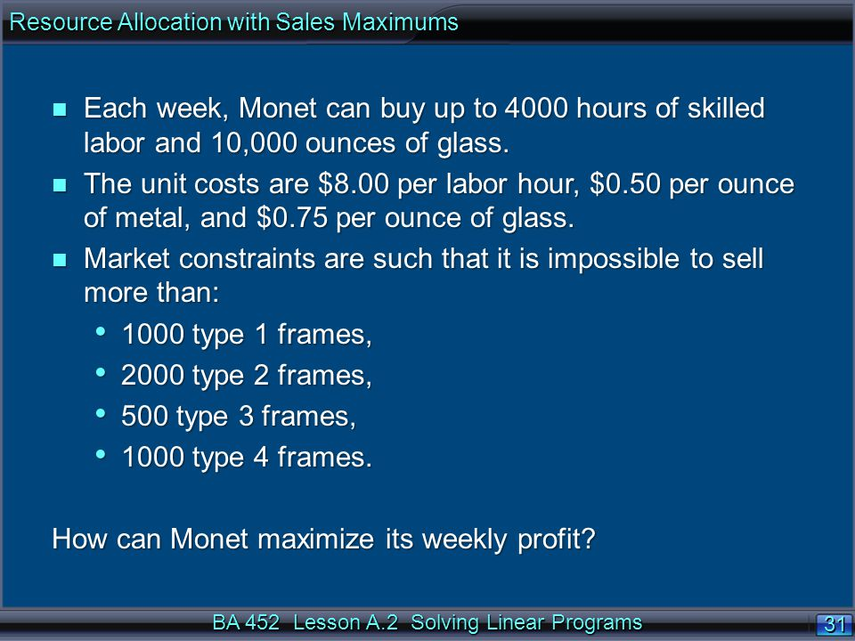 BA 452 Lesson A.2 Solving Linear Programs 31 n Each week, Monet can buy up to 4000 hours of skilled labor and 10,000 ounces of glass.